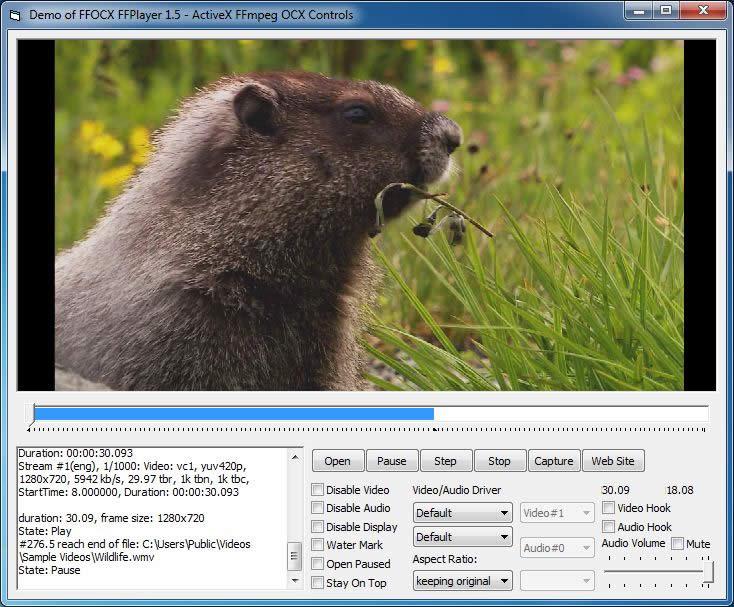 Screenshots of FFOCX - ActiveX FFmpeg OCX Controls(Video Encoder